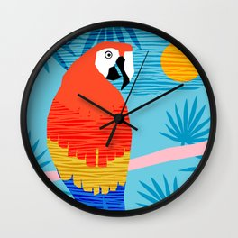 Say What - memphis throwback retro neon tropical 1980s 80s style hipster bright bird paradise art Wall Clock