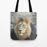 the lion king Tote Bags featuring Lion King by MehrFarbeimLeben