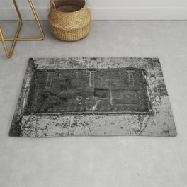 Lighthouse Iron Door Black and White Photography Rug