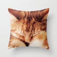 garfield Throw Pillows featuring Garfield Sleeps by Rachel's Pet Portraits