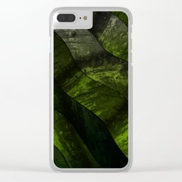 Green lines in dirty gradient pattern Clear iPhone Case