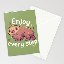 Enjoy Every Step // Motivational Baby Sloth, Kawaii, Positivity Stationery Cards