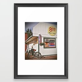 Corner Barbershop Framed Art Print