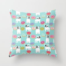 French Bulldog cute mint pastel cute donuts sweet treat doughnuts junk food dessert foods and dogs Throw Pillow