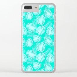 Tropical Aqua Print Clear iPhone Case