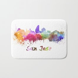 San Jose skyline in watercolor Bath Mat
