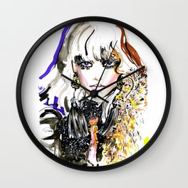 Fashion illustration yellow blue markers Wall Clock