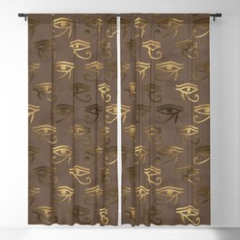 Brown & Gold Eye Of Horus Blackout Curtain