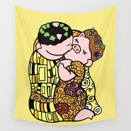 The pig kiss Wall Tapestry
