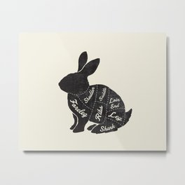 Rabbit Butcher Diagram Metal Print