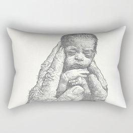 Newborn in hands Rectangular Pillow