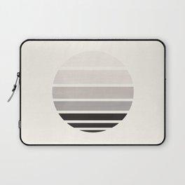 Grey Mid Century Modern Minimalist Circle Round Photo Staggered Sunset Geometric Stripe Design Laptop Sleeve
