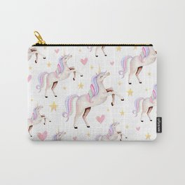 Rainbow Unicorns — Hearts & Stars Carry-All Pouch