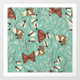 Beautiful Vintage Butterfly And Flower Pattern Art Print