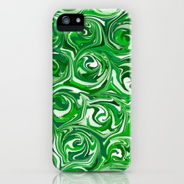 Emerald Green, Green Apple, and White Paint Swirls iPhone Case