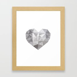 Fractal heart in shades of gray Framed Art Print