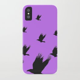 FLYING FLOCK BLACK CROWS/RAVENS ON LILAC COLOR iPhone Case
