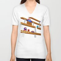 donkey kong V-neck T-shirts featuring Inside Donkey Kong stage 2 by Metin Seven