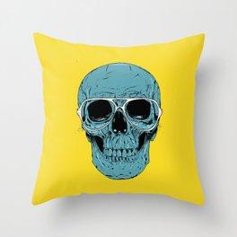Blue skull Throw Pillow