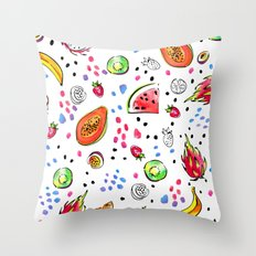 Tropical fruits pattern Throw Pillow