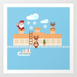 Santa Claus deliver presents on Christmas Eve Art Print