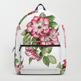 Blooming Pink Garden Roses Backpack