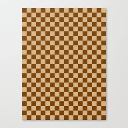 Tan Brown and Chocolate Brown Checkerboard Canvas Print