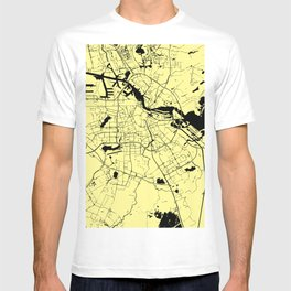 Amsterdam Yellow on Black Street Map T-shirt