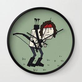 Sad John Rambo In A Field Wall Clock