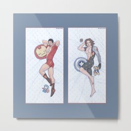 Tony and Bucky Pinups Metal Print