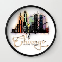 Colorful Skyline Chicago GPS coordinates Wall Clock