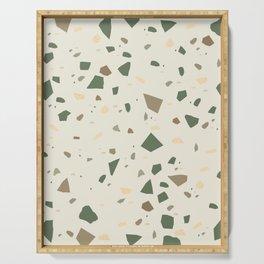 Sage Cactus Green Tan Brown Terrazzo #1 #decor #art #society6 Serving Tray