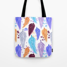 Watercolor Macrame Feathers + Dots in Lilac Rainbow Tote Bag
