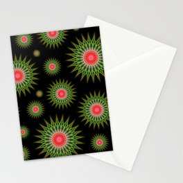 Mandalas pattern in red and green Stationery Cards