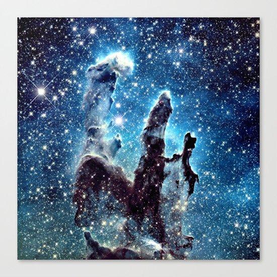 Pillars of Creation Nebula: Ocean Blue Galaxy Canvas Print
