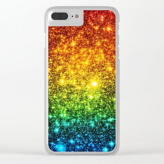 RainBoW Sparkle Stars Clear iPhone Case
