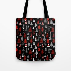 Christmas tree forest minimal scandi patterned holiday forest winter Tote Bag