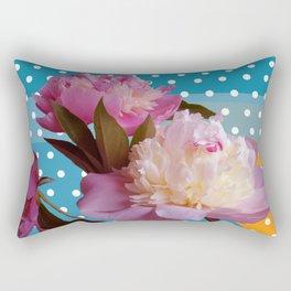 Peony Flowers & Dots Rectangular Pillow