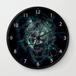 Green indian wolf Wall Clock