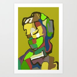Woman with scarf Art Print