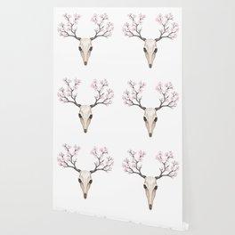 Blooming deer skull Wallpaper