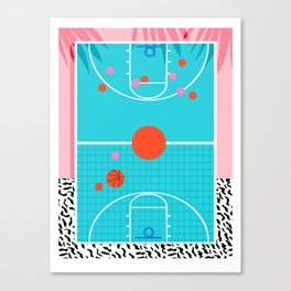 Hoops - throwback retro 80s basketball sports athlete neon 1980's memphis style art Canvas Print