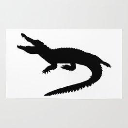 Crocodile Black Silhouette Animal Pet Cool Style Rug