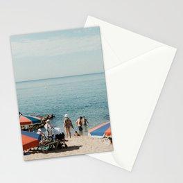 Italian beach umbrellas | Liguria, Mediterrean sea| Wall art| Timeless travel photography Stationery Cards