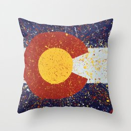Splatter Colorado Flag Art Throw Pillow