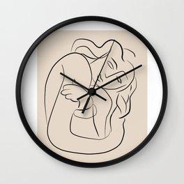 Matisse sleeping lady beige line art, minimalist art print  Wall Clock