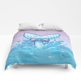 Polka Dot Whale Fluke Comforters