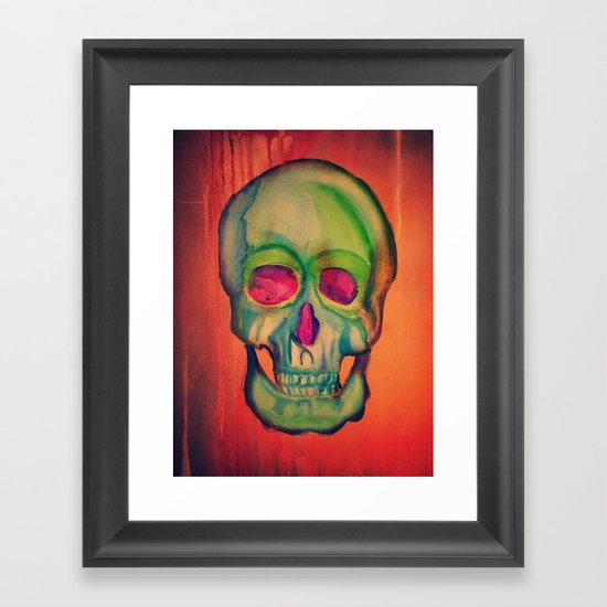 Watercolor skull/Green Framed Art Print