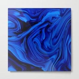 Blue Liquid Marbled texture Metal Print