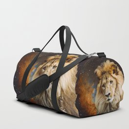 Lion and Galaxy Duffle Bag